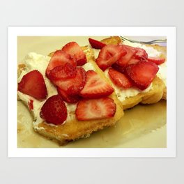 french toast with strawberries Art Print