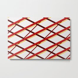 Deco Stripes Scarlet Metal Print