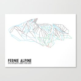 Fernie, British Columbia, Canada - Minimalist Trail Maps Canvas Print