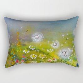 Daisies and Dandelion - Floral Landscape Rectangular Pillow