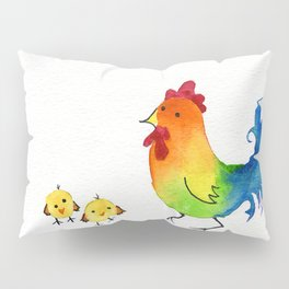 Little Rainbow Roosters Pillow Sham