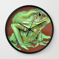 frog Wall Clocks featuring Frog by Emily A Robertson