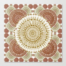 Crimson and Brown Mandala Pattern Canvas Print