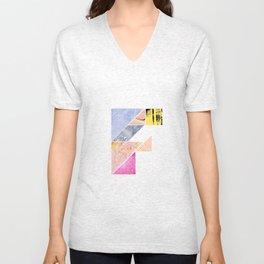 Collaged Tangram Alphabet - F Unisex V-Neck