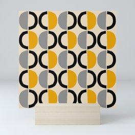 Mid Century Modern Half Circle Pattern 547 Beige Black Gray and Yellow Mini Art Print
