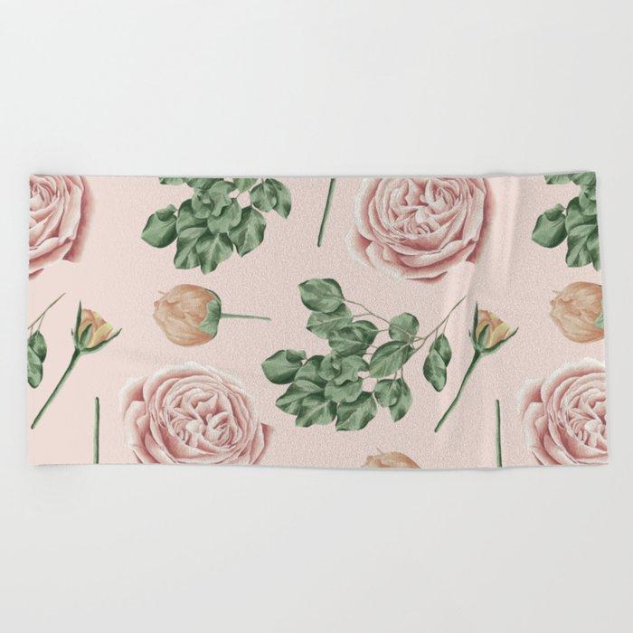 Flower Shop Roses on Blush Pink Beach Towel