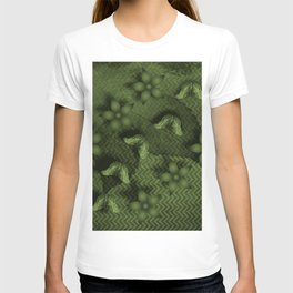 Camouflaged butterflies and flowers in green T-shirt