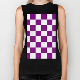 Large Checkered - White and Purple Violet Biker Tank