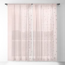 Rose Gold Pastel Pink Foil Paint Line Dots XXIII Sheer Curtain
