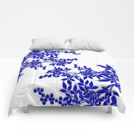 BLUE AND WHITE  TOILE LEAF Comforters