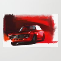 gta Area & Throw Rugs featuring Alfa Romeo Giulia Sprint 1600 GTA by Vadim Artemyev