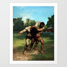 The Wrestlers by Gustave Courbet (1853) Art Print