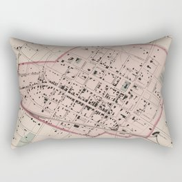 Vintage Map of Charlottesville VA (1877) Rectangular Pillow