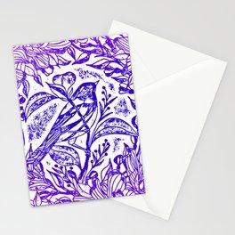 Songbird In Magnolia Wreath, Purple Linocut Stationery Cards