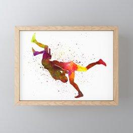 Wrestlers wrestling men 02 in watercolor Framed Mini Art Print