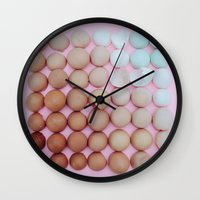 egg Wall Clocks featuring egg by sh3011