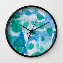 Blue and Green Wet on Wet Wall Clock