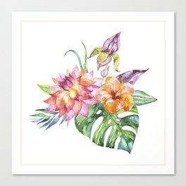 Colorful topical flowers bouquet no.2 Canvas Print