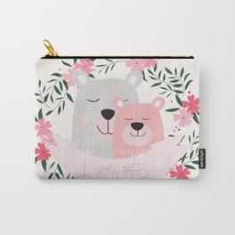 Mommy and Me Cute Baby Animal Nursery Bears and Flowers Pink Carry-All Pouch
