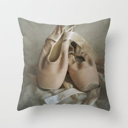 Creamy pointe ballet shoes Throw Pillow