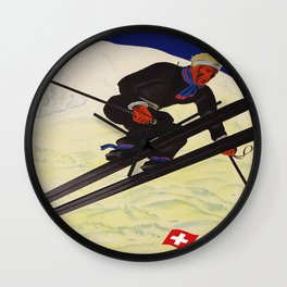 Vintage Adelboden Switzerland - Ski Jump Wall Clock