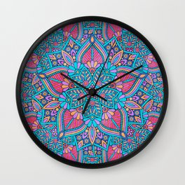Pink and Turquoise Flower Mandala Wall Clock