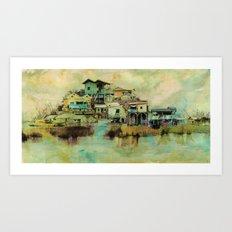Drifting Along Tonle Sap River, Cambodia Art Print