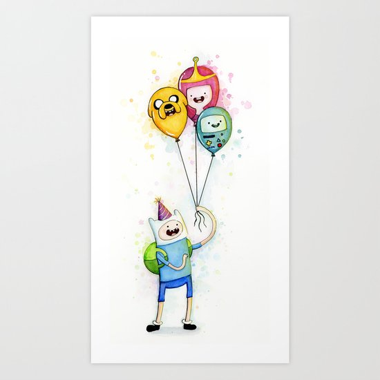 Finn with Birthday Balloons Jake Princess Bubblegum BMO Art Print