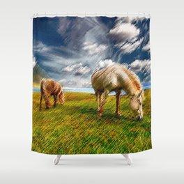 Horses Grazing Landscape Painting by Jeanpaul Ferro Shower Curtain