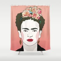 frida Shower Curtains featuring Frida by Amanda Corbett