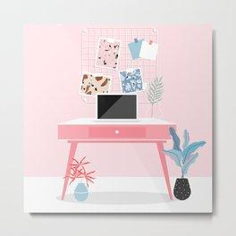 Beautiful pink workspace. Home office/ office/ creative studio design poster. Metal Print