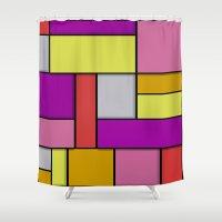 mondrian Shower Curtains featuring Mondrian #6 by Ron Trickett (Rockett Graphics)