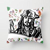 jack sparrow Throw Pillows featuring Jack Sparrow....Captain Jack Sparrow.. by Kramcox