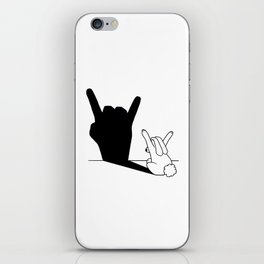 Rabbit Rock and Roll Hand Shadow iPhone Skin