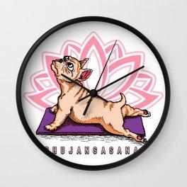 French Bulldog Yoga - Bhujangasana Pose - Funny Dog Wall Clock