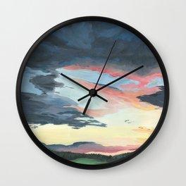 Sunset over Yellowstone Wall Clock