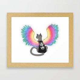 Magical Rainbow Cat Framed Art Print