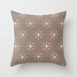 Christmas Pastel Brown Pink Geometric Snowflakes Throw Pillow