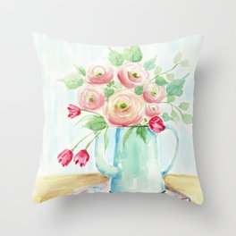 Tulips and French Enamelware Throw Pillow