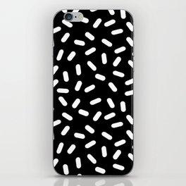 Bingo - black and white sprinkle retro modern pattern print monochromatic trendy hipster 80s style iPhone Skin