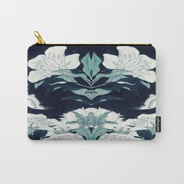JAPANESE FLOWERS Midnight Blue Teal Carry-All Pouch