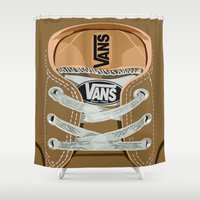 vans Shower Curtains featuring Cute brown Vans all star baby shoes apple iPhone 4 4s 5 5s 5c, ipod, ipad, pillow case and tshirt by Three Second