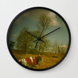 Landscape with a cow Wall Clock