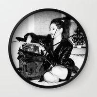 punk rock Wall Clocks featuring Punk Rock Girl by Penny Giforos