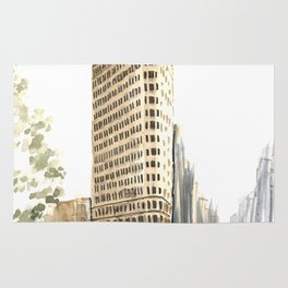 Architecture sketch of the Flatiron building in New york Rug