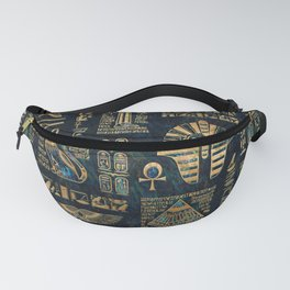 Egyptian hieroglyphs and deities -Abalone and gold Fanny Pack