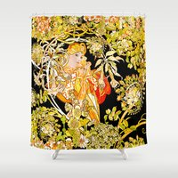 mucha Shower Curtains featuring Marguerite's Bower, Mucha by Vintage Era Art
