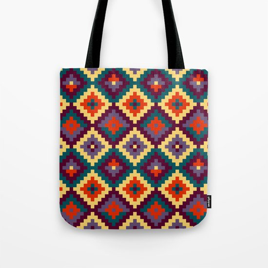 Aztec pattern - purple, red, blue, yellow Tote Bag