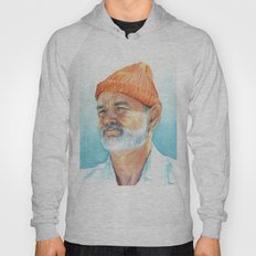 Steve Zissou Art Life Aquatic Bill Murray Watercolor Portrait Hoody