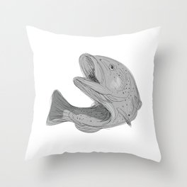 Cutthroat Trout Jumping Drawing Throw Pillow